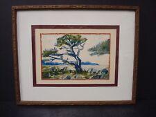 Vintage Original Fine Art Watercolor Painting SIGNED Lendway Wind-swept Tree