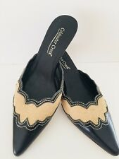 COLDWATER CREEK Women's Mules Burlap Leather Slip On Black Natural Jute Sz 7.5 M