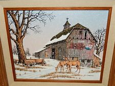 C.CARSON PEPSI COLA DEER BARN IN THE SNOW PAINTING