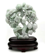 A Grade Natural Jadeite Jade Grape Statue Carving Sculpture  w/ certificate