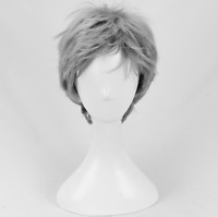Men Daily Wear Gray Short Cosplay hair Wig +a wig cap