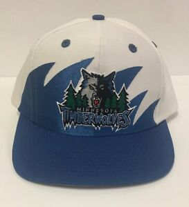 Vintage Minnesota Timberwolves Shark Tooth Snapback Hat Cap Logo 7