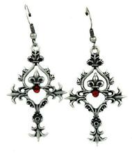 Renaissance Cross Red Stone Earrings Goth Victorian Vampire Steampunk Burlesque