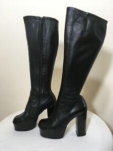 Vintage 70s Black Leather Platform Boots Size UK4-4.5
