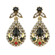 Rhinestone mixed teardrop ancient style onyx earring with cubic zorconia US ER16