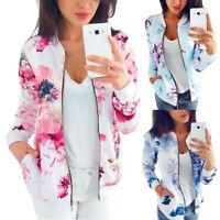 Fashion Women Floral Printed Baseball Outwear Zipper Bomber Jacket Coat Tops