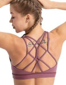 Coastal Rose Women's Yoga Bra Top Strappy Back Push Up Crop Sports Bra Purple L