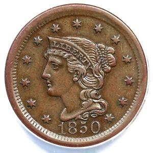 1850 N-5 R-4 ANACS AU 55 Braided Hair Large Cent Coin 1c