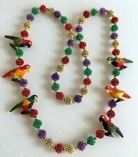 Mardi Gras Beaded Parrot Necklace 22 inches