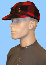 NEW MENS RED-BLACK PLAID RAILROAD HAT CAP WITH FLAPS-24 inch or 7 5/8-Wool Blend