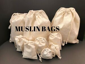 """6""""x8"""" inches 100% COTTON Natural Muslin bags *Eco -friendly Bags* 25,50,100,200"""