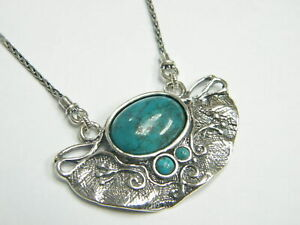 New Shablool Jewelry Israel Turquoise Sterling Silver 925 Pendant for Lady