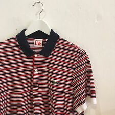 £90 Lacoste Live slim fit Striped Polo Shirt Navy/Red/White sz 3 S Small (2 XS)