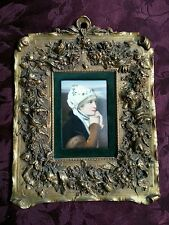 Porcelain Plaque in Ornate Bronze Frame