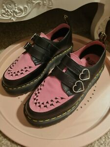 Dr Martens Lazy Oaf Pink Suede Black Heart Buckle Creeper Platforms Size UK 9 42
