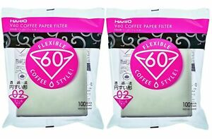Hario V60 Paper Coffee Filters, Size 02, White, Tabbed 100 count, 2 pack