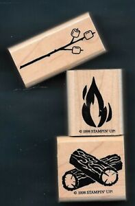 CAMPFIRE FLAME LOG MARSHMALLOW STICK Camp Gear Outdoor STAMPIN' UP! RUBBER STAMP