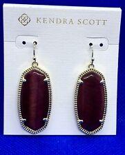 NWT KENDRA SCOTT Elle Drop Earrings Bordeaux Tiger Eye & Gold +bag Burgundy Red