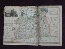 1836 MAP OF SURREY HAND COLOURED published by PIGOT CHERTSEY WIMBLEDON REIGATE