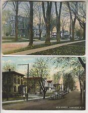 2 VINTAGE POSTCARDS - TRINITY AVENUE NORTH SIDE & ELM STREET - LOWVILLE NEW YORK