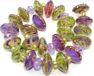 "Sistersbeads ""H"" Purple Jungle"" Handmade Lampwork Beads"