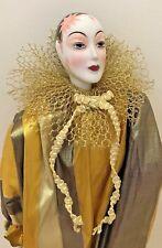"Kingstate Harlequin Pierrot Clown Porcelain Carnival Doll 15"" #2045 NIB Vintage"