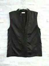 Dries Van Noten Black Silk Habutai Asian Openwork Trim V-Neck Top Tank Blouse 38