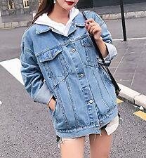 Women's Retro Boyfriend Oversized Denim Jacket Loose Jeans Coat Outwear S