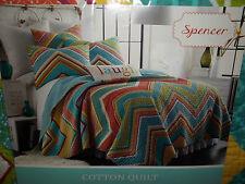 NIP Spencer 100% Cotton Blue/White/Green/Orange/Yellow Full/Queen Quilt