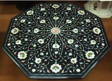 "18"" Black Marble Coffee Center Table Top Stone Handmade Inlay Art Home s34"