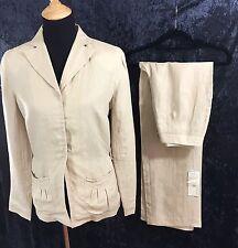 KENAR Women's Beige PANT SUIT Sz 10/6 LINEN Two Piece Blazer Jacket Slacks