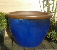 Blumentopf ca.60 cm Steinzeug blau glasiert Keramik Garten Terracotta Terrakotta