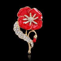 Broche Vintage Coquelicot Aiguille Fleur Cristal Pinot Coquelicots Broches Rouge