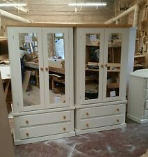 HANDMADE X2 AYLESBURY COUNTRY DOUBLE-MIRRORED WARDROBES (IVORY+PINE) ASSEMBLED!
