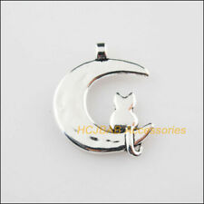 10 New Moon Animal Cat Tibetan Silver Tone Charms Pendants 17.5x22mm