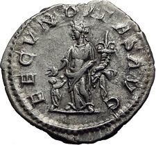 JULIA MAESA 218AD Ancient Authentic Silver Roman Coin Fecunditas Child i63447