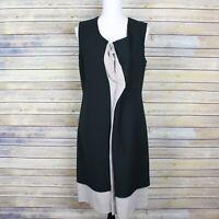 Marni Virgin Wool Draped Sheath Dress Green Grey Layered Sleeveless IT 42 US 6