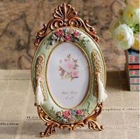 "European Style Gold Framed Photo Frame Rose Flower Decoration Oval 4 x 6"" TR0088"