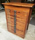 Antique Industrial 18 Drawer Pine Wood Map Document Arts Flat Filing Cabinet