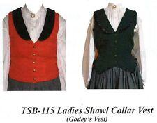 Civil War Style LADY'S SHAWL COLLAR GODEY  VEST Timeless Stitches PATTERN TSB115