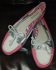 Sperry Top-Sider Audrey Boat Shoes Pink White Silver Leather Womens 7M 9862830