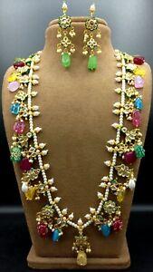 Bollywood Pakistani Indian Long Necklace Bridal Partywear CZ Kundan Jewelry Sets