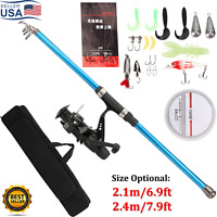 Telescopic Spinning Fishing Pole Rod and Reel Combo Set Full Kit w/Lures Hook