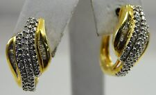 Sterling Silver Vermeil Diamond Earrings .50CTW Omega Dangle Round Baguette