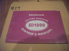 CR 1978 Honda ED1000 Portable Generator Owner's Owners Manual