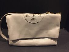Tory Burch Kipp Foldover Crossbody Handbag Gray Excellent Condition!