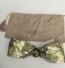 NWT Jennifer Behr Metallic Turban Headband Gold Floral