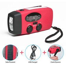 Emergency Solar Crank Dynamo Power Radio AM/FM LED Flashlight Phones Charger Red