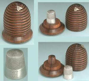Antique Bee Hive Thimble Case & Sterling Silver Thimble by KMD * Circa 1900