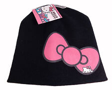 NWT HELLO KITTY Beanie Knit Hat One Size Black w Pink Bow Sanrio Winter Hat